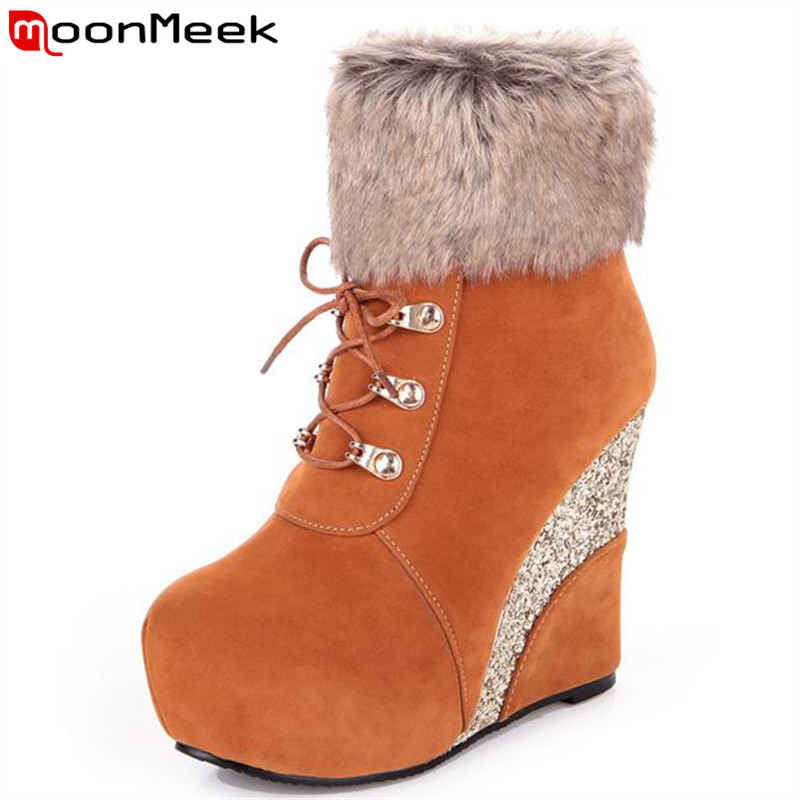 MoonMeek New arrive wedges mature appointment round toe women winter boots fashion zip platform skid resistance
