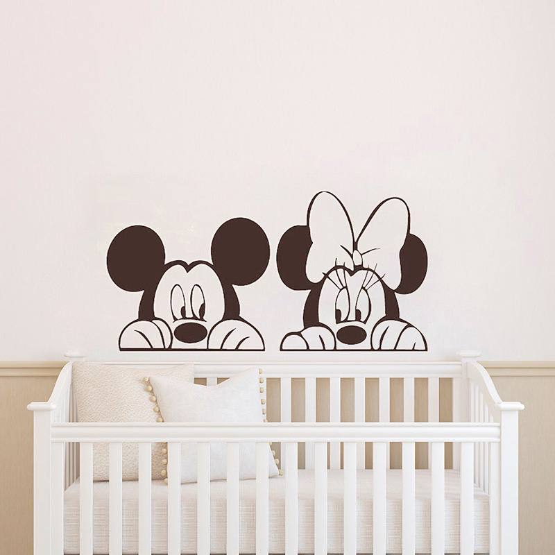 Mickey Minnie Mouse Wall Sticker For Kid Room Cartoon Animals Wall