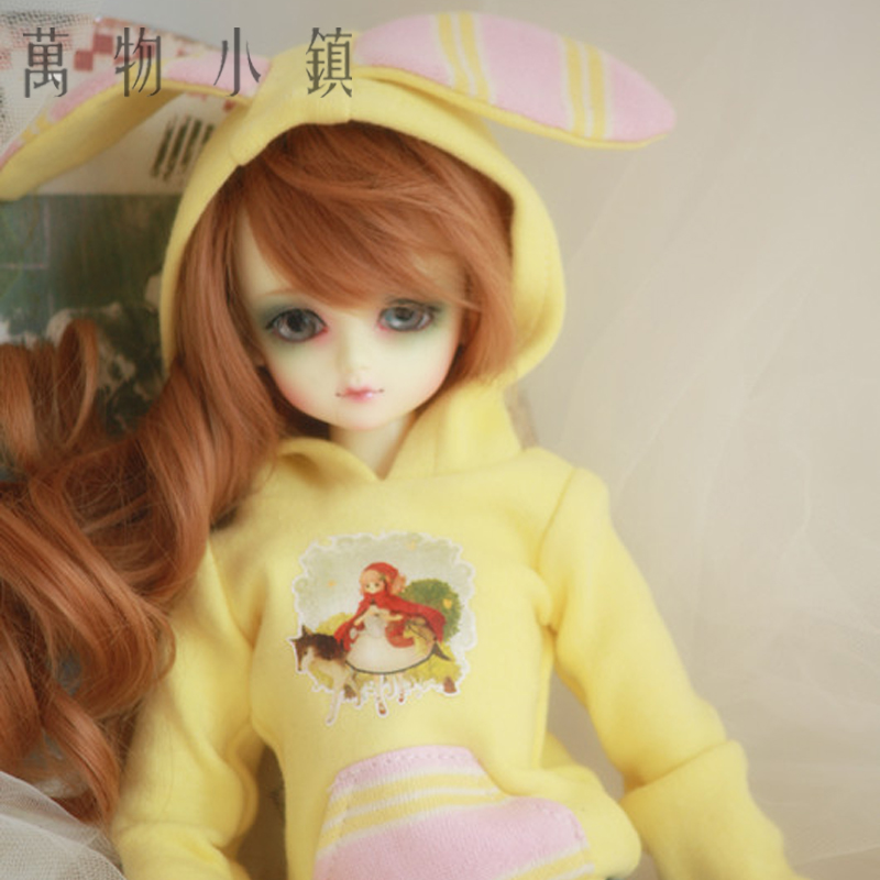 New Lovely Rabbit Ear Yellow Shirt/Hoodie For 1/3 1/4 1/6 BJD SD MSD YOSD Clothes handsome grey woolen coat belt for bjd 1 3 sd10 sd13 sd17 uncle ssdf sd luts dod dz as doll clothes cmb107