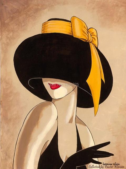 100% sombrero negro pintado a mano Mujer en sombrero Modigliani retrato  decoración pintura al óleo 7104ac7c4f7