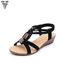 Vtota сандалии-гладиаторы женщин Строка из бисера Обувь на низком каблуке летние туфли-танкетки повседневная женская обувь с открытым носком обувь для дам