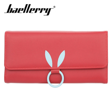 Baellerry Women Rabbit Ear Solid Long Wallet PU Leather Hasp Lady Wallet Coin Pocket Card Holder Photo Holder Wallet Casual