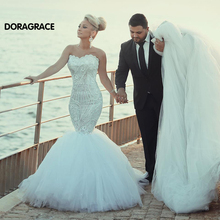 vestidos de novia Romantic Beaded Tulle Princess Mermaid Wedding Gowns Designer Dresses DG0091