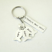 Daddys Best Catch Keychain Personalized Fathers Day Gift Daddy Papa Fish