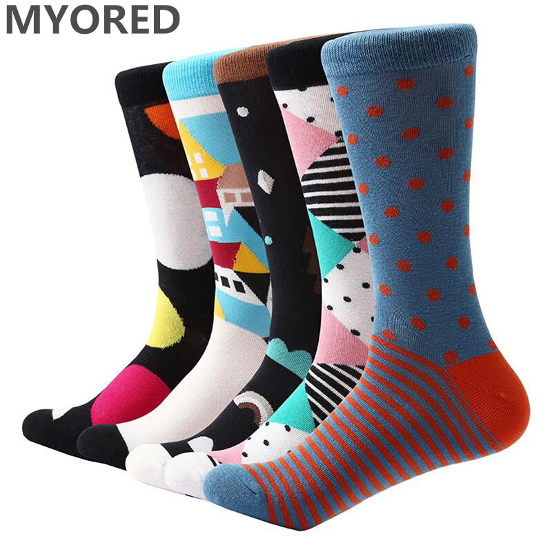 MYORED 5 pair/lot mens socks colorful funny sock cotton novelty socks casual dress wedding socks