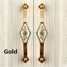 128mm fashion rural ceramic furniture handles silver gold kitchen cabinet wardrobe door handles 5″ bronze dresser door pull knob