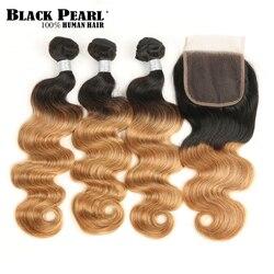 Paquets d'ombre de perle noire avec la fermeture deux tons 1B/99J 1B/27 1B/30 couleurs vague brésilienne de corps 3 4 paquets avec la fermeture