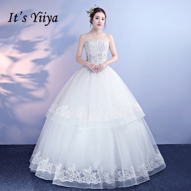 It S Yiiya New Off White Sleeve Strapless Wedding Dresses Flower Pattern Crystal Bling Sequined Plus Size