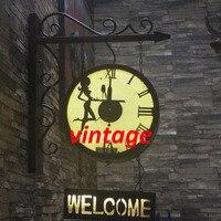 Британский Винтажный стиль industrial гладить часы приветствуется настенный светильник кафе бар Ресторан знак пользовательские свет Добро пож