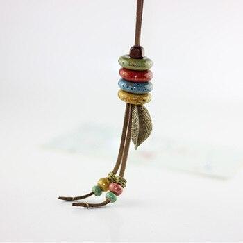 Céramique bijoux long pull chaîne collier bohême art pour femme