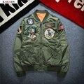Осень 2016 мужская Британский вышивка письмо значок MA1 Летную Куртку Мужчин Женщины Короткая Длина Черный Армия Зеленый Ветровка