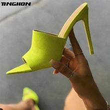 TINGHON NEW Summer Fashion Sandals Faux Suede Slingback Mules Peep Toe Heels Women Pumps High Thin Heels Party Sexy Shoes недорго, оригинальная цена