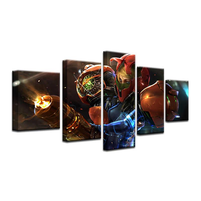 Модульные картины 5 панель Metroid Prime 4 Игра плакат хорошее качество холст живопись на стене картинки для гостиной