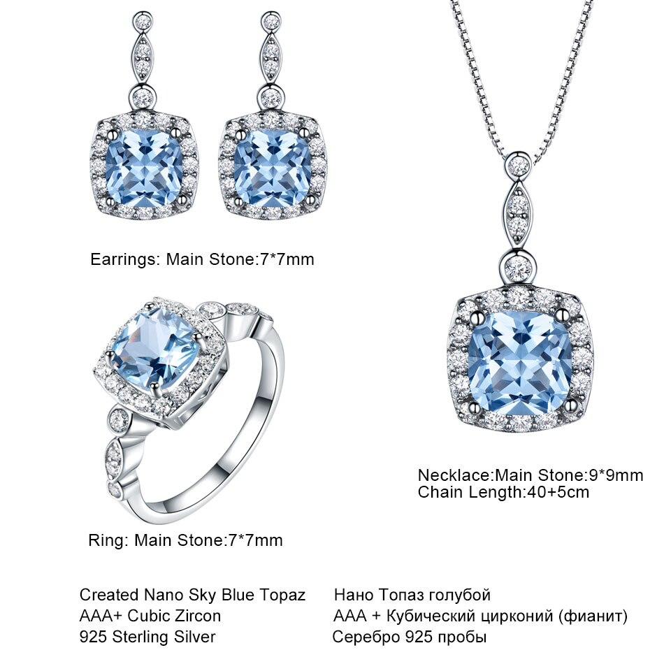 UMCHO 925 Sterling Argent parure de bijoux Ciel Bleu Topaze pendentif anneau; Boucles boucles d'oreilles pour femmes De Mariage Valentine Cadeau de bijoux fins - 4