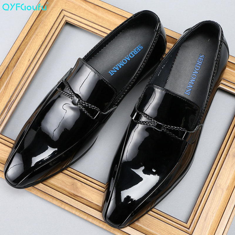 QYFCIOUFU Luxury Men Dress Shoes Genuine Leather Slip on Shoes Fashion Patent Leather Loafers Italian Men Prom And Wedding Shoes in Formal Shoes from Shoes