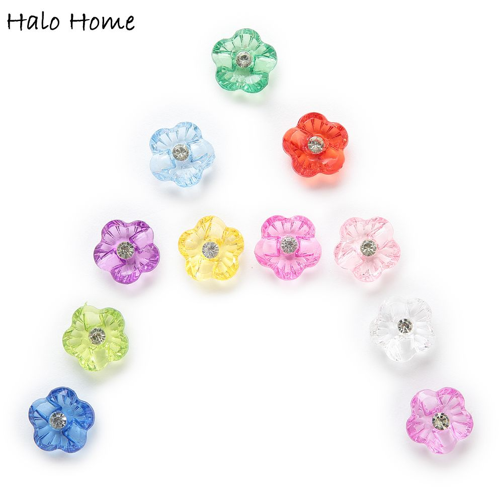 50pcs Acrylic Buttons Flower Sewing Scrapbooking Gift Home Clothing Decor 15mm