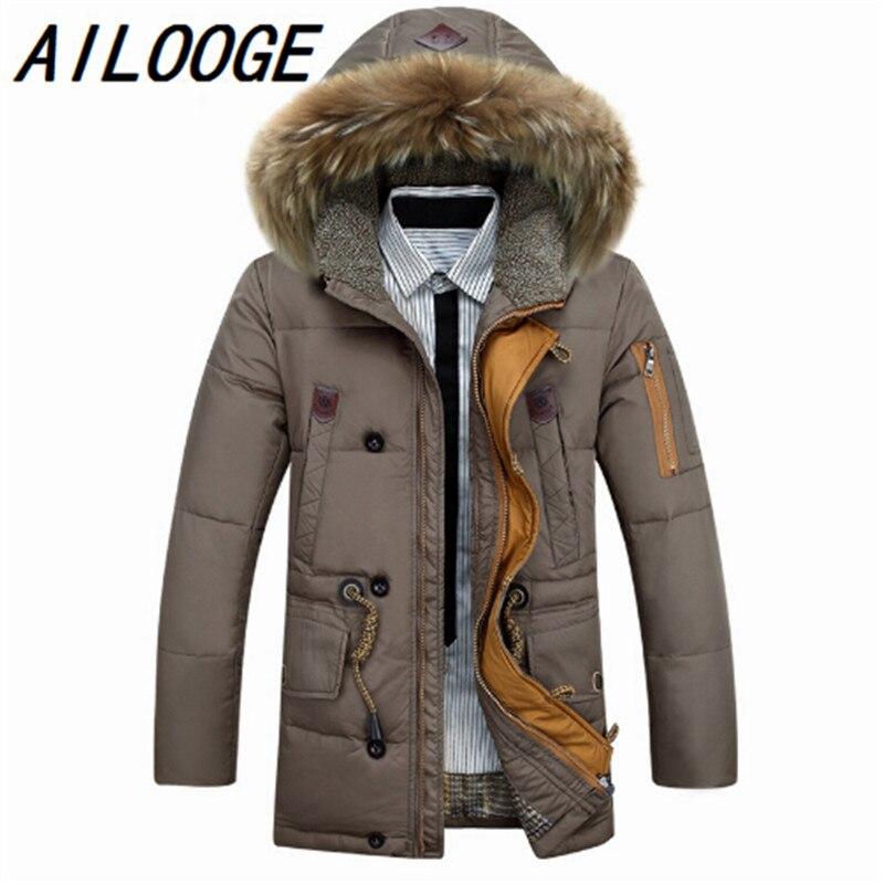 100% Wahr Winter Ente Daunenjacke Männer 90% Unten Inhalt Verdicken Daunenjacke Winter Langarm Solide Winter Mäntel Tasche Mode