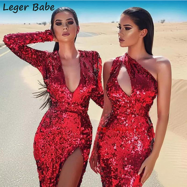 Leger HL 2018 Winter Lady Evening Prom Gown Sheath Bodycon Party Dresses  Long Sleeve Midi Vestido bf5ebaebba0b