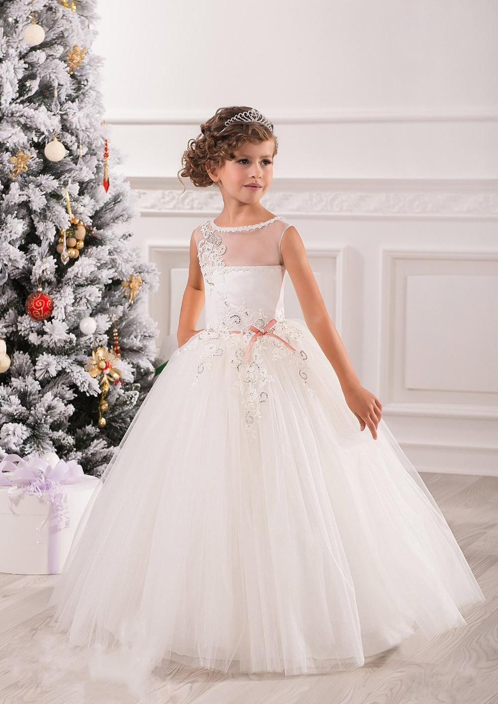 Elegant white lace ball gowns tulle flower girl dresses for Flower girls wedding dress