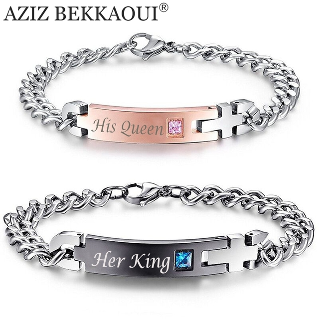 "Drop Shipping Unique Gift for Lover ""His Queen""""Her King "" Couple Bracelets Stai"