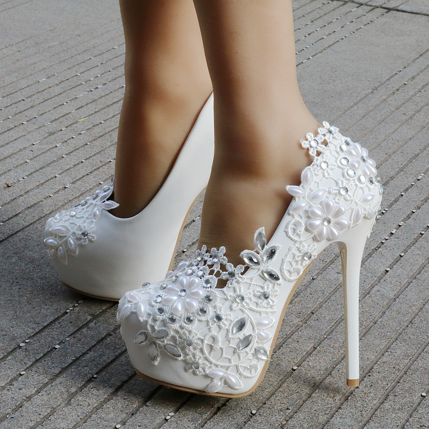 6e4511434d19 Crystal Queen Fashion white lace flower rhinestone pumps wedding shoes for women  red color white pumps thin heels shoes platform-in Women s Pumps from Shoes  ...