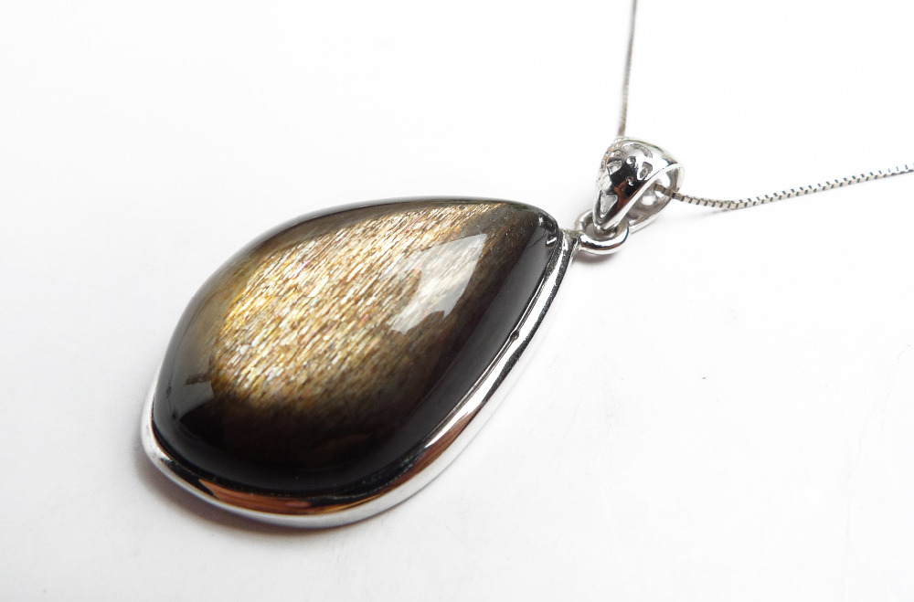 Genuine Natural Black Sunstone Necklaces Pendants Women Men Powerful Charms Suspension Water Drop Bead Pendant 28x8x21mm