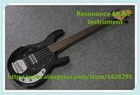 China Custom Fretless 4 String Music Man Electric Bass Guitar In Glossy Black In Stock