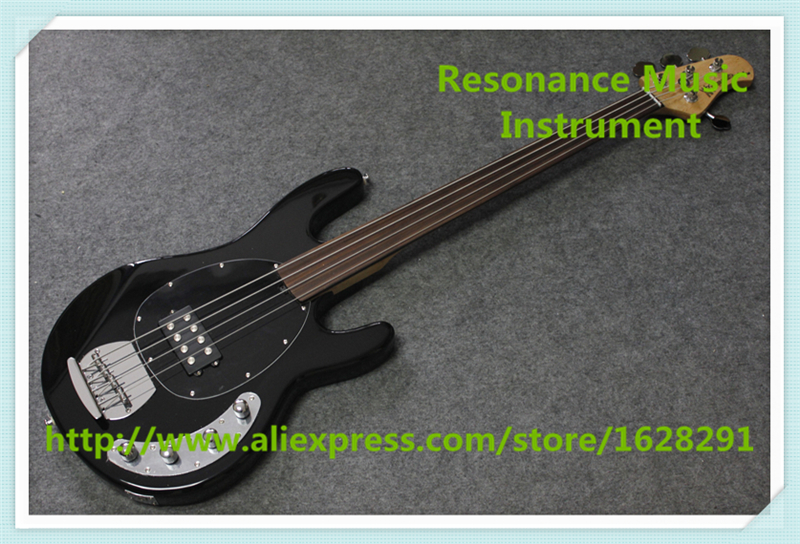 China Custom Fretless 4 String Music Man Electric Bass Guitar In Glossy Black In Stock custom shop music man john petrucci electric guitar in sliver sparkle finish