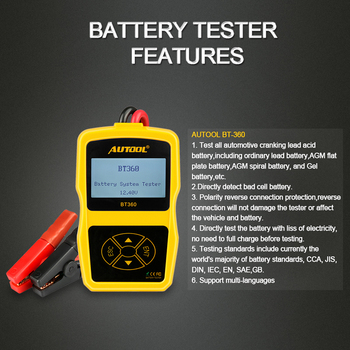 Probador de batería de coche BT360, 12V, prueba de carga, analizador Digital, baterías de diagnóstico automotriz, BT-360 de análisis 3