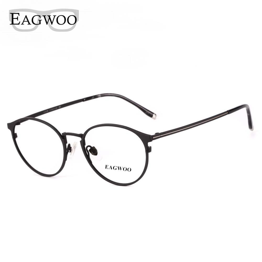 Eagwoo Titanium Eyeglasses Metal Full Rim Optical Round Vintage Nerd Frame Prescription Spectacle Men Glasses Glasses