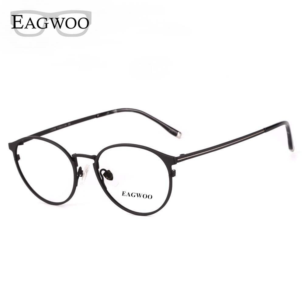 1c1a711c3 Eagwoo معدن التيتانيوم النظارات البصرية حافة كاملة جولة خمر الطالب الذي  يذاكر كثيرا الإطار وصفة طبية مشهد الرجال نظارات نظارات New15816