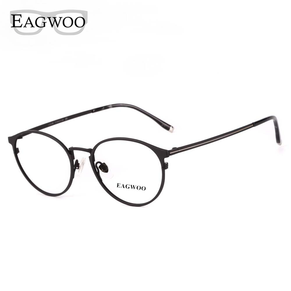 93fe01b7eb Eagwoo Titanium Eyeglasses Metal Full Rim Optical Round Vintage Nerd Frame  Prescription Spectacle Men Glasses New15816