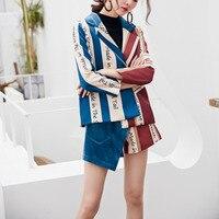 LANMREM 2018 Fashion Women Shorts High Waist A line Pockets Mini Stripe Printing Split Joint Asymmetry Culottes Hot Sale TA125