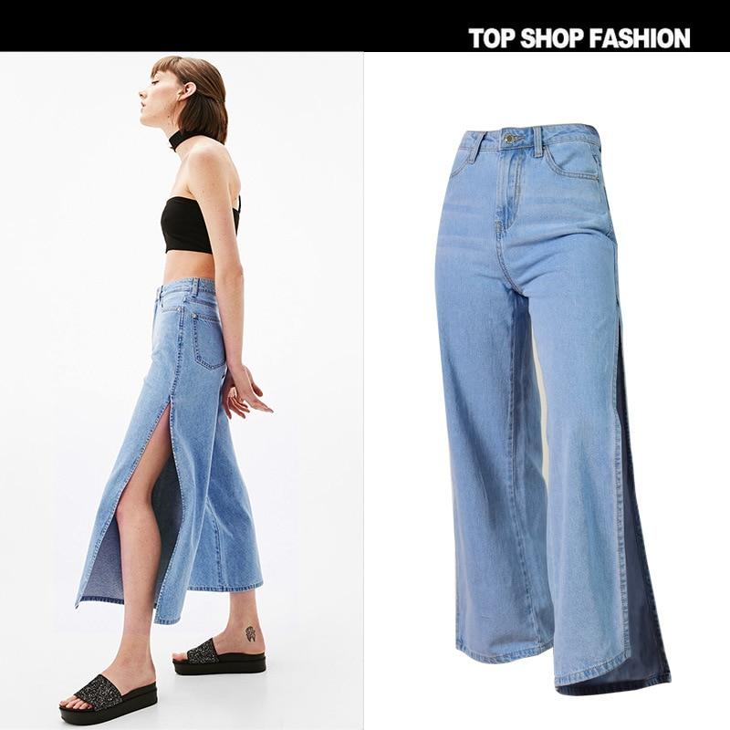 New  Women's Wear High Waist On Both Sides Split Culottes Ms Loose 7 Minutes Of Pants Wide-legged Pants Joker Eight Jeans