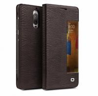 QIALINO for Huawei Mate 9 Pro Smart View Window Grid Texture Genuine Cowhide Leather Case for Huawei Mate9 Pro Leather Case