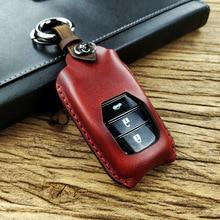 цена на Handmade Genuine Leather Car Key Cover Case For TOYOTA HIGHLANDER CAMRY RAV4 COROLLA PRADO CROWN C-HR Key fob Cover case Bag