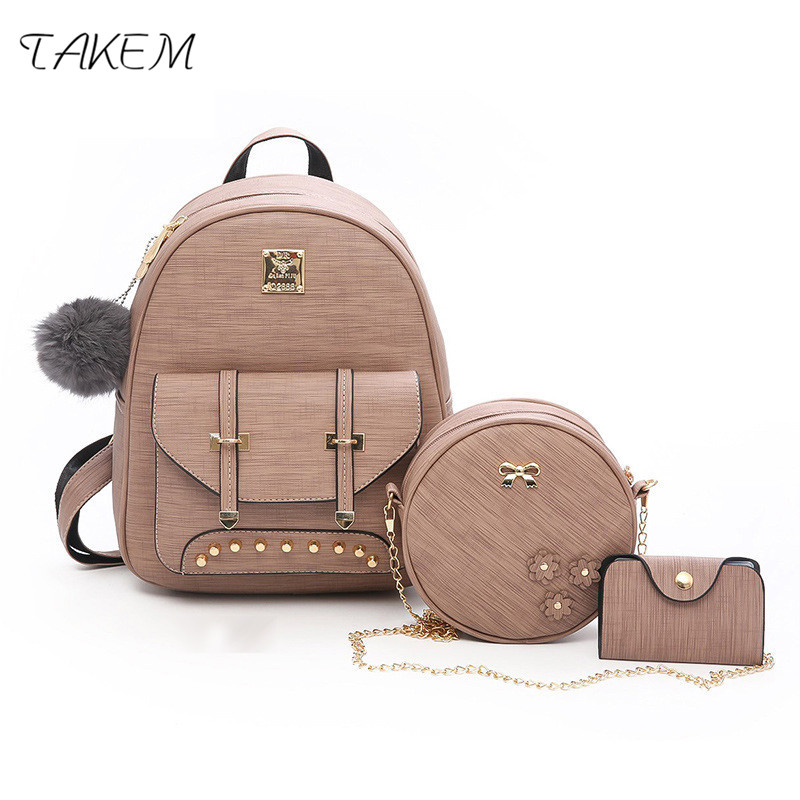 TAKEM 2018 NEW Women backpack 3 Piece set PU leather lady laptop backpacks Card package Hairball decorative College style takem 2018 new women backpack 3 piece set pu leather lady laptop backpacks card package hairball decorative fashion bags