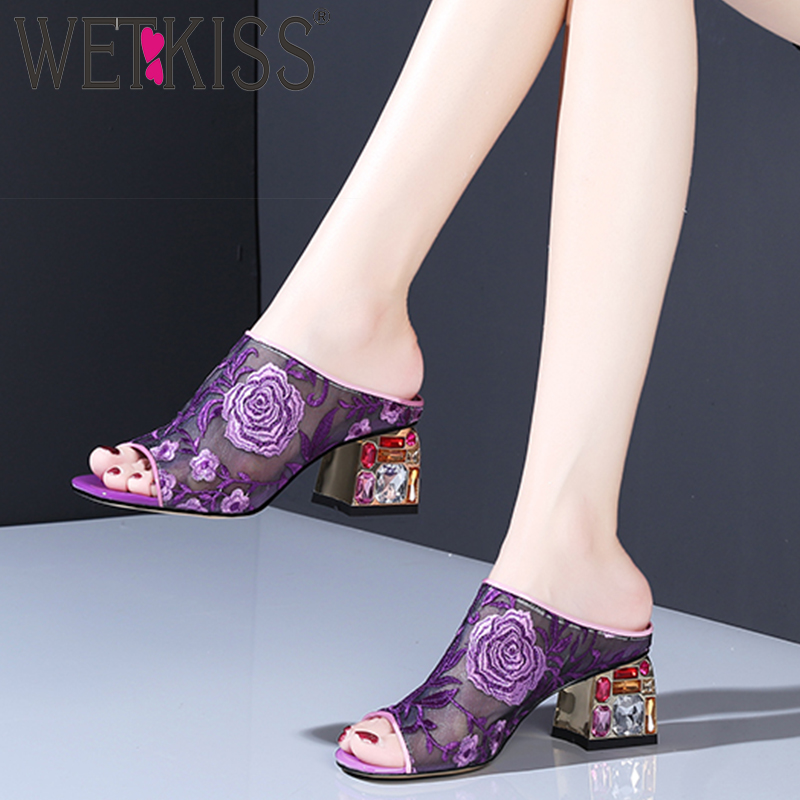 WETKISS Colorful Crystal Heels High Slippers Summer 2019 New Women Slides Shoes Female Mules Shoes Mesh Embroider Shoes LadiesWETKISS Colorful Crystal Heels High Slippers Summer 2019 New Women Slides Shoes Female Mules Shoes Mesh Embroider Shoes Ladies