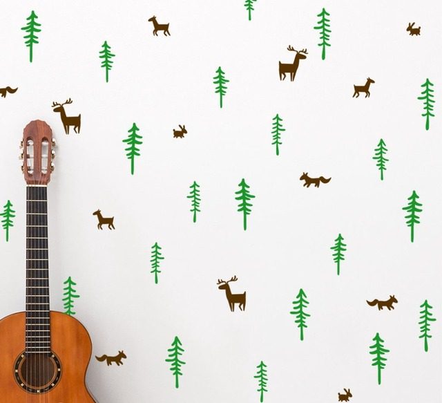 Nordic Style Woodland Wall Decal Forest Tree And Elk Deer Vinyl Wall Stickers Kids Baby Room Art Wall Decor
