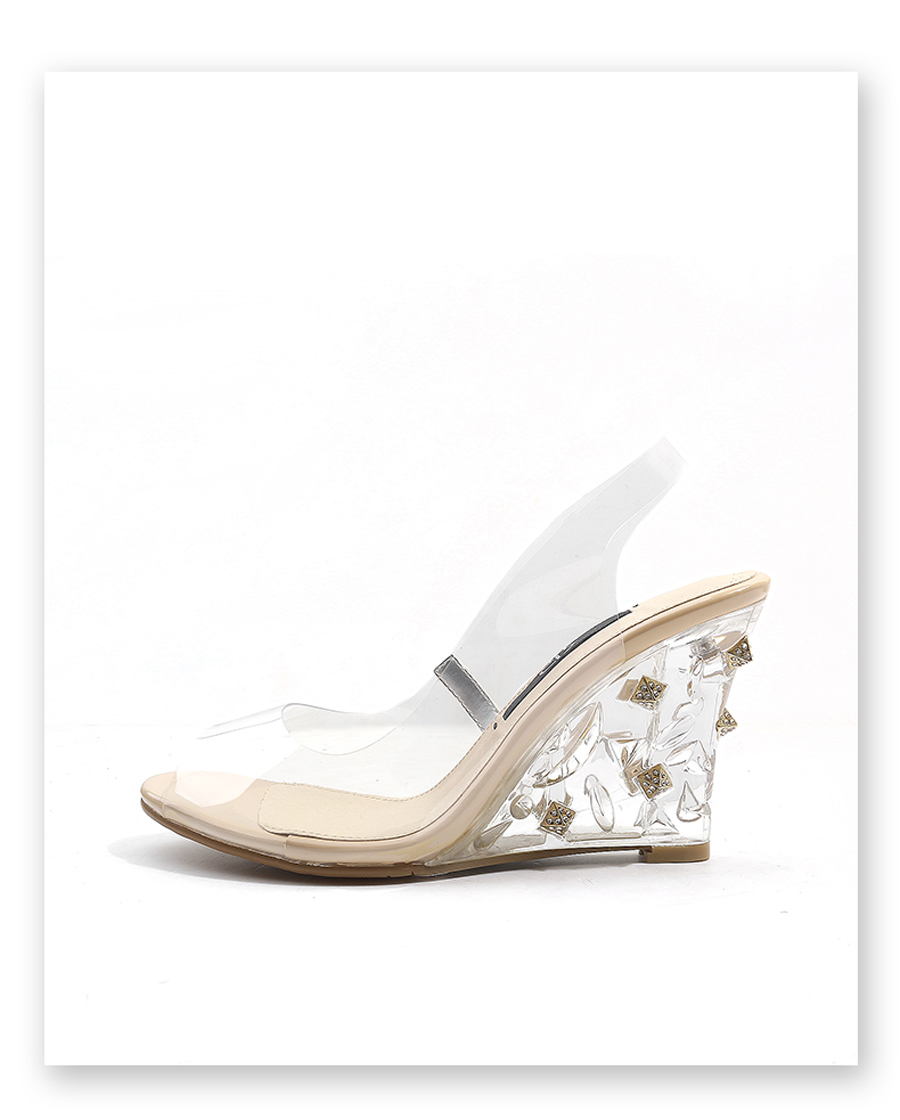 Stylesowner 2018 jelly sandals peep toe hig heel women transparent perspex  shoe rhinestone wedge heel clear sandal mujer zapatos