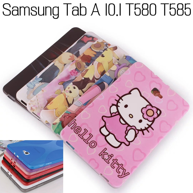 Fashion Cartoon X-Line Soft Silicone TPU Cover for Samsung Galaxy Tab A T580 T585 10.1 Tablet Case+Free Screen Protector+Pen