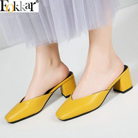 Eokkar 2019 Women Pumps Fashion Ladies Shoes Pu Leather Square Heel All Match Party Shoes Slingbacks Women Pumps Size 34 43