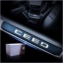 Автомобильные пороги протекторы Накладка для Kia CEED углеродное волокно виниловая наклейка дверная пороговая Пластина Автомобильные аксессуары для укладки 4 шт.