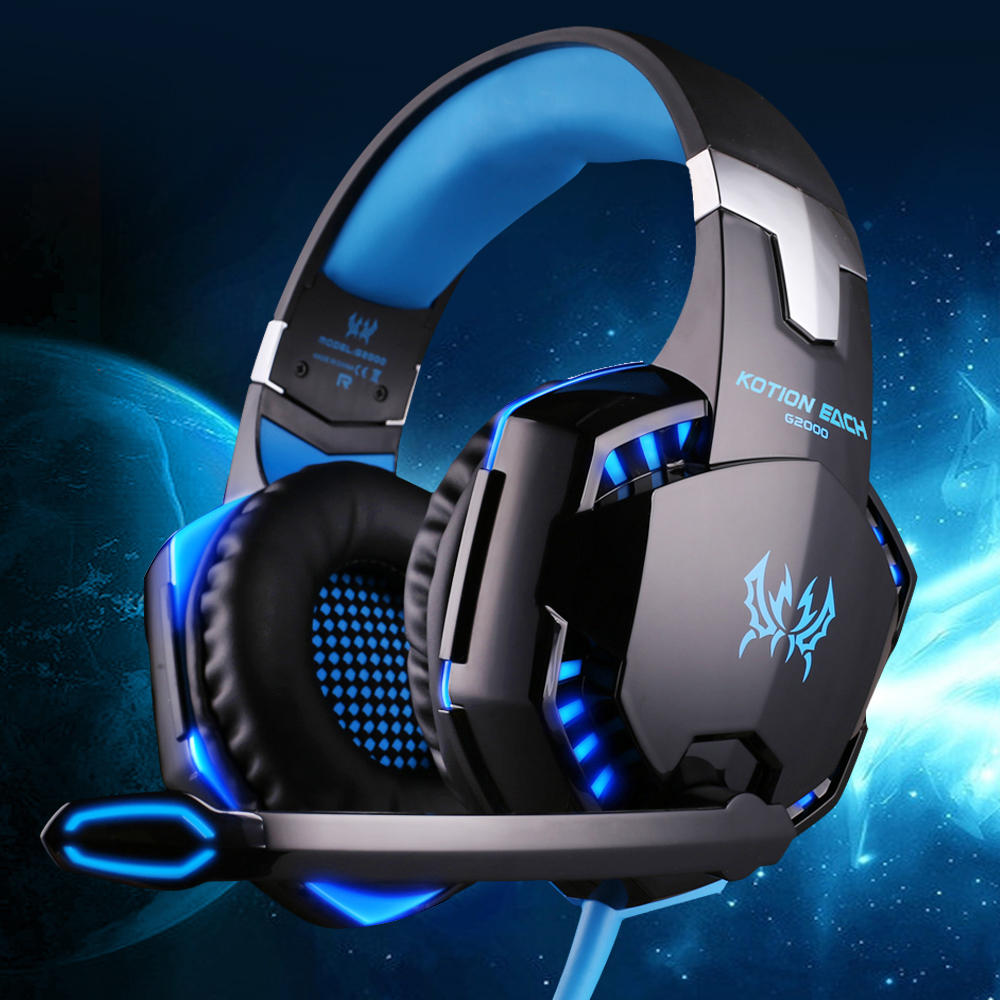 KOTION EACH G2000 Gaming Headset Wired Earphone Gamer Headphone With Microphone LED Noise Canceling Headphones For Computer PC each g8200 gaming headphone 7 1 surround usb vibration game headset headband earphone with mic led light for fone pc gamer ps4