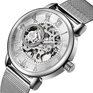 Image 4 - Unique ORKINA argent montre mécanique pour hommes Ultra mince conception squelette cadran en acier inoxydable maille bracelet mode homme montre bracelet