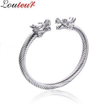 0f8a3fe12a92 LOULEUR Color de plata antiguo de acero inoxidable Viking dragón pulsera de  la joyería de los hombres Vintage ajustable pulsera brazalete de