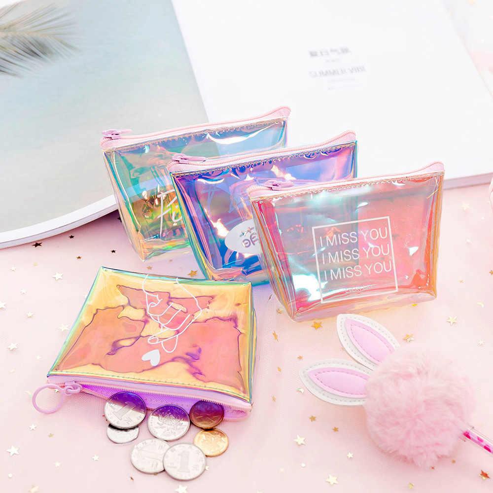 Sıcak 2019 Moda Bayan Bayan Çocuk Para Cüzdan PVC Bayan Küçük Mini bozuk para kesesi Fermuar Para Anahtar Kulaklık Hattı Sikke Tutucu çanta