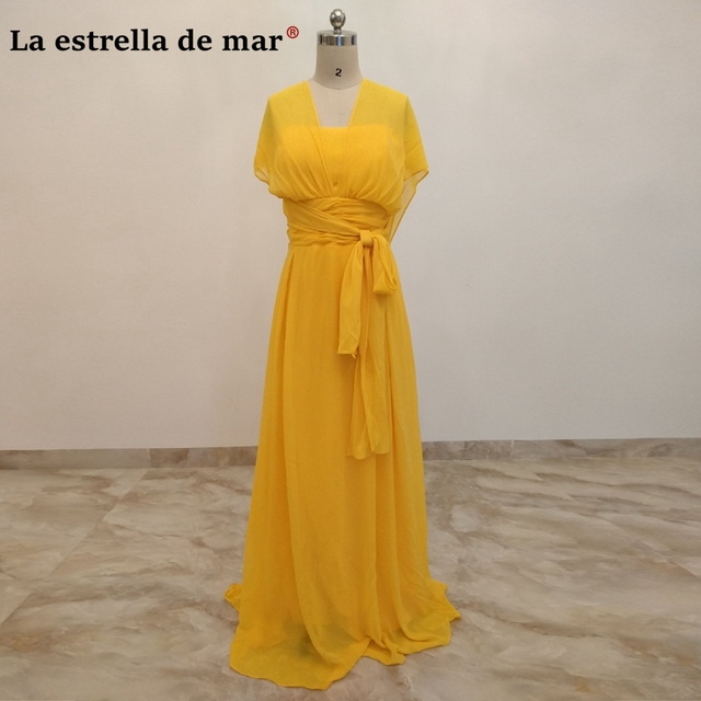 Robe demoiselle d honneur2018 Chiffon A Line Yellow Convertible Bridesmaid  Dresses long plus size vestido madrinha real picture 05bdbe80bf30