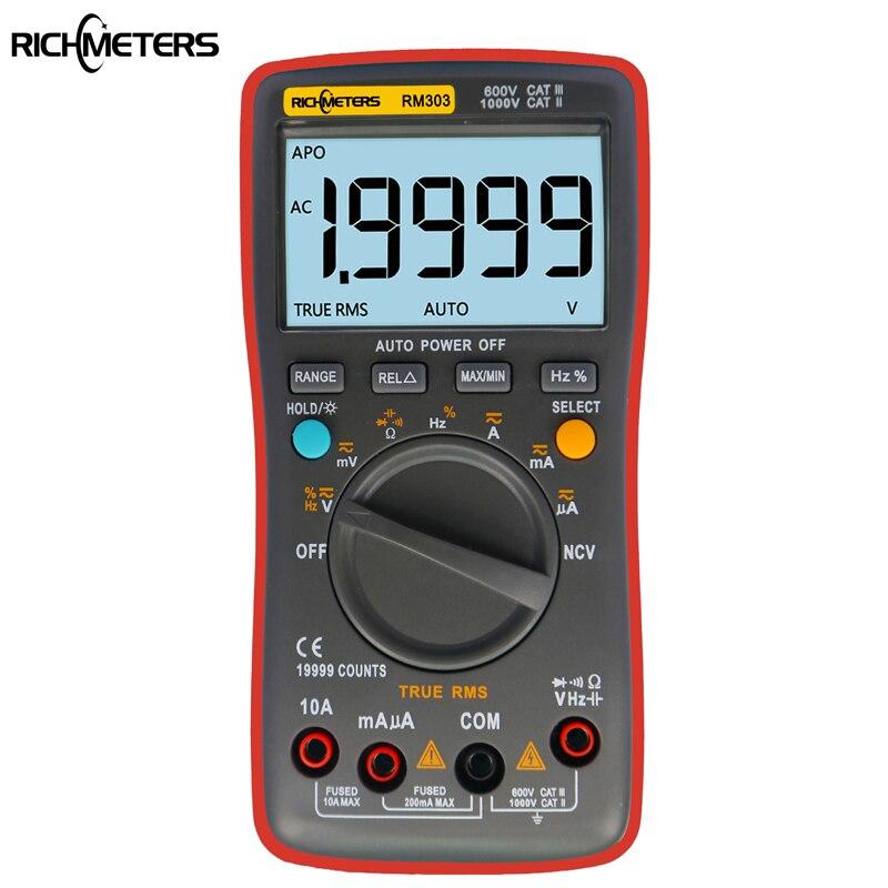 RM303 de verdadero valor eficaz (RMS 19999 Cuenta Digital multímetro NCV frecuencia 200 m resistencia Auto alimentación de tensión AC DC amperímetro actual Ohm
