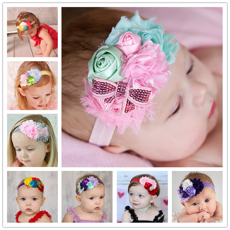 Baby Headband Ribbon Flower Handmade DIY Toddler Kid Hair Accessories Floral Girl Newborn Bows Photography Turban Elastic Infant 20pcs lot girl hair bow headband for newborn infant toddler hair accessories diy grosgrain ribbon bow elastic hair bands